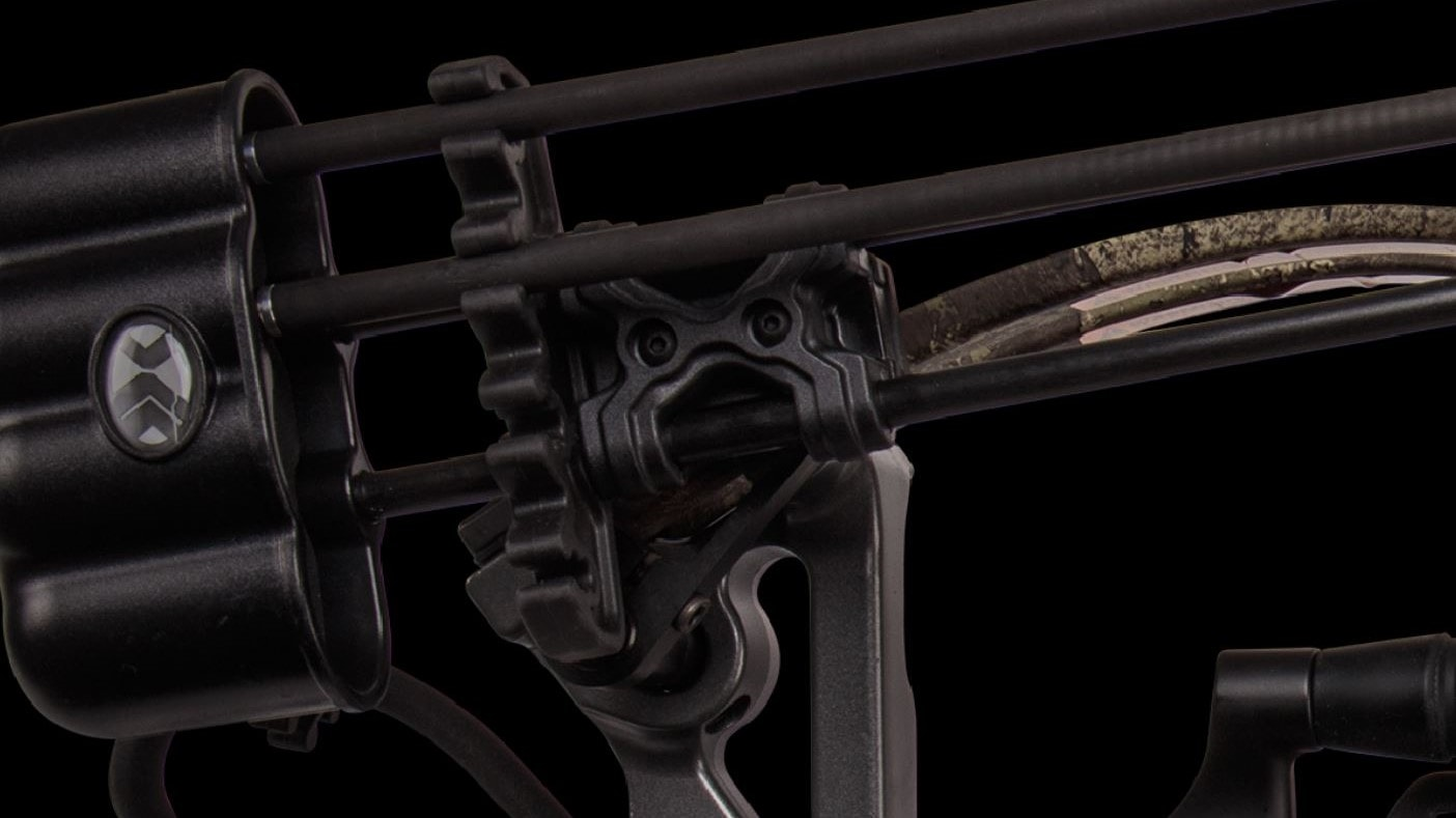 close up view of parts of a crossbow