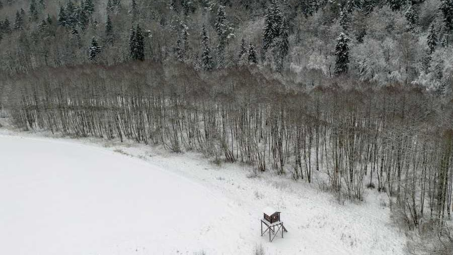 a arial view of a snowy landscape