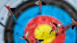 Arrows sticking in a target