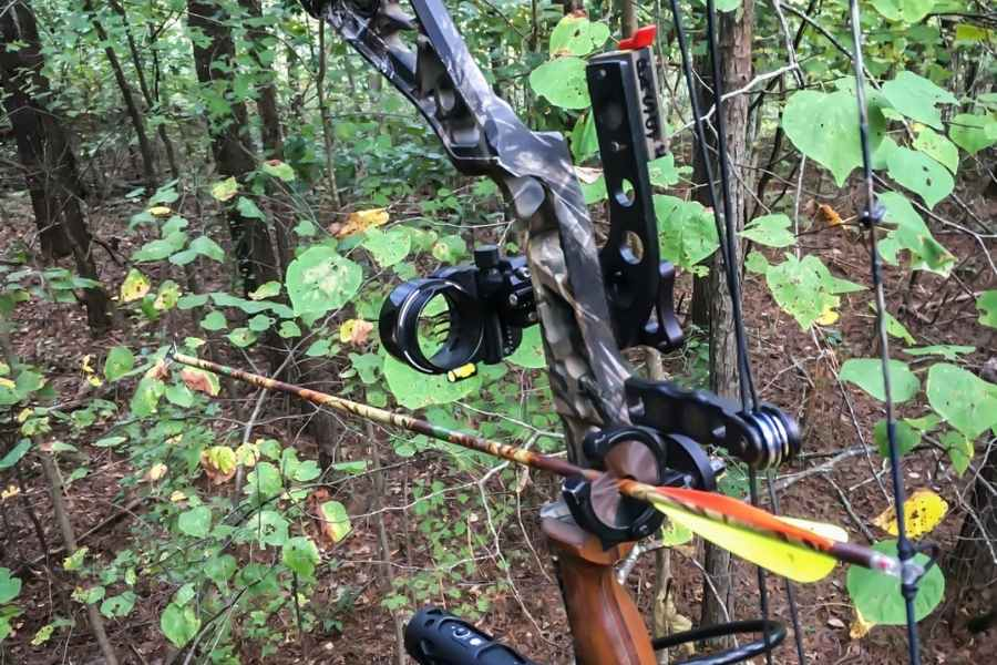 a compound bow with an arrow nocked up in the trees
